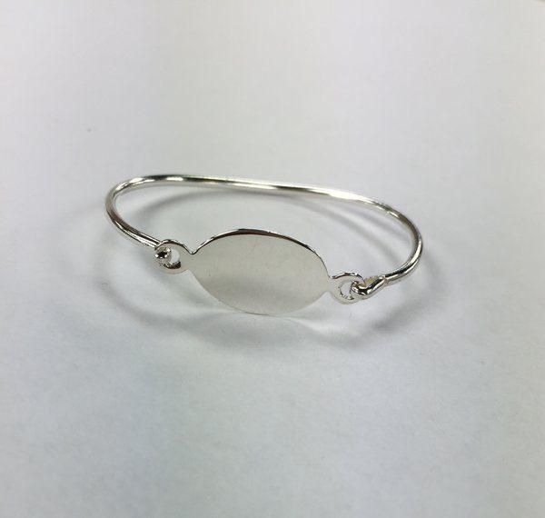 Infant Sterling Silver Monogram Oval Bracelet