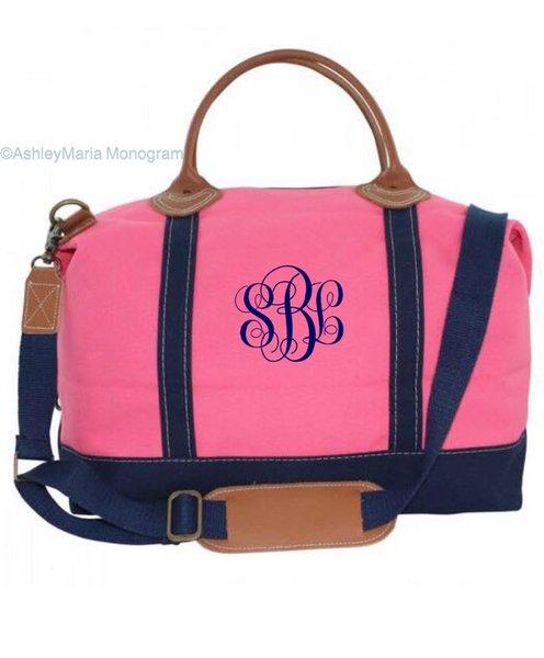 Preppy Navy And Pink Weekender Bag
