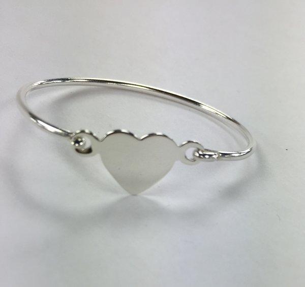 Sterling Silver Monogram Heart Bracelet